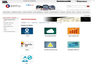 página de dados abertos da EMTU/SP